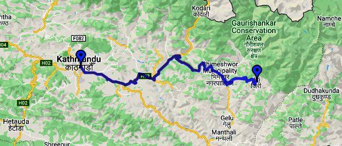 Driving road from Kathmandu to Jiri
