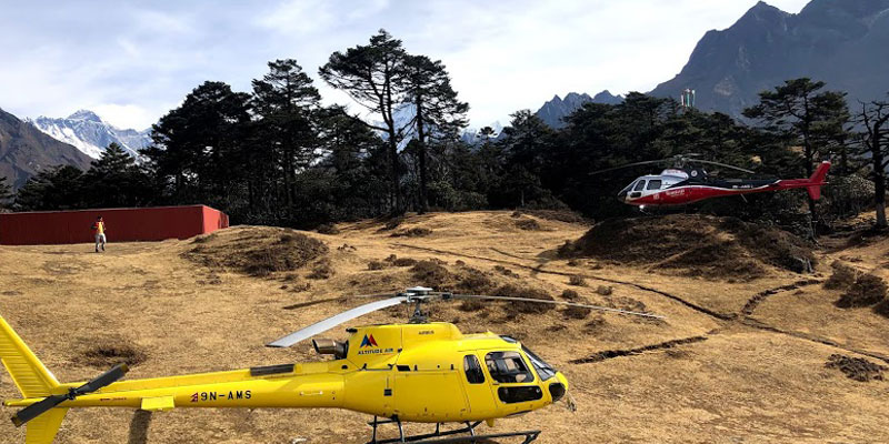 Helicopter landing at Everest viewpoint.